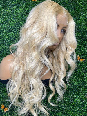 Elva Pre Plucked Brazilian Remy Hair 613# Blonde Body Wave 13*6 Lace Front Wigs 150 Density With Baby Hair 【00952】
