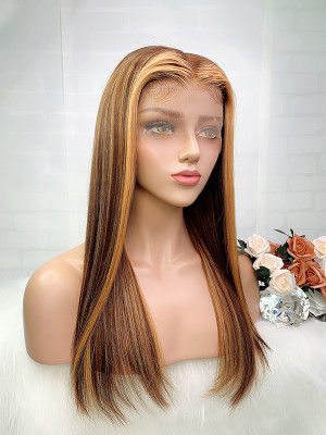 Elva Hair Ombre Color4# 27# Silky Straight Brazilian Remy Hair 13x6 Lace Front Human Hair Wigs 150 Density 【00759】