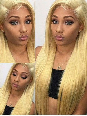 Elva Hair Pre Plucked Brazilian Remy Hair 613#  Silky Straight 13*6 Lace Front Wigs 130 Density With Baby Hair 【00836】