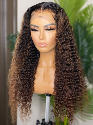 Heavy Density Remy Hair Deep Curly 13x6 Lace Front Human Hair Wig 1bT8# Ombre Color Pre Plucked Natural Hairline【00116】