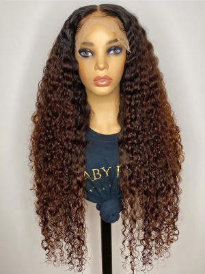 Elva Hair 1BT8# Curly Brazilian Remy Hair Ombre Color 13x6 Lace Front Human Hair Wigs 150 Density 【00985】