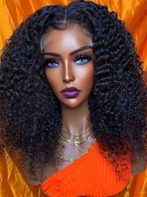 Sexy Curly Brazilian Remy Hair 13X6 Lace Frontal Wigs With Baby Hair Pre Plucked Natural Hairline 【00338】