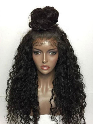 Pre Plucked Brazilian Human Hair Deep Curly Silk Base Lace Front Wig 150 Density 【00206】