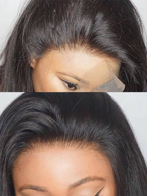 Pre Plucked Silky Straight 130%  Brazilian Remy Hair Glueless Full Lace Wig Bleached Knots Swiss Lace【00769】