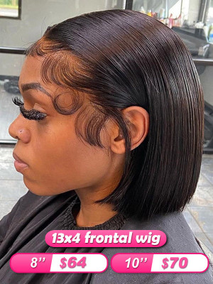 Flash Sale!!!Elva Hot Bob Hair 13x4 Lace Frontal Wig Straight Bob Wig Swiss Lace【00173】