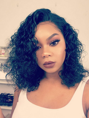 Celebrity Bob Wig Curly Remy Hair 13x6 Lace Front Human Hair Wigs 150 Density 【00475】