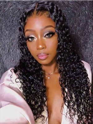 Elva 370 Lace Wig With Fake Scalp Brazilian Remy Hair Water Wave 150% Density Fake Scalp Wigs Pre plucked Hairline Swiss Lace 【00834】