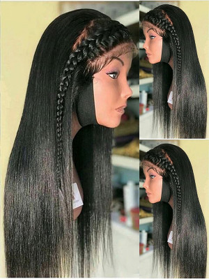 Pre Plucked Brazilian Human Hair Straight Silk Base Lace Front Wig 150 Density With Baby Hair 【00462】