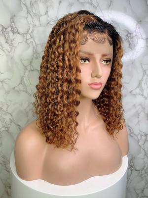 Elva Hair Bob Curl Brazilian Remy Hair Ombre Color 1BT8# 13x6 Lace Front Human Hair Wigs 150 Density 【00755】