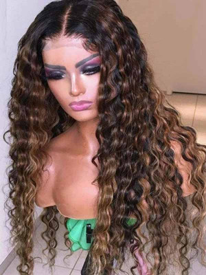 Elva Pre Plucked Water Wave Yonce Wig  Omber Color Brazilian Remy Hair 13x6 Lace Front Wigs 150 Density  Swiss Lace【00873】