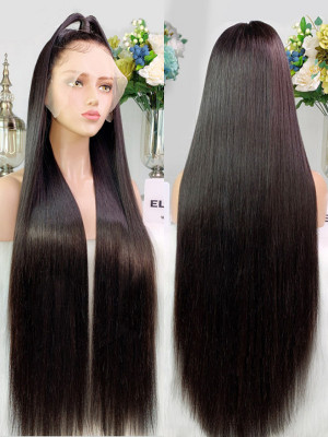 Pre Plucked Silky Straight Brazilian Remy Hair Glueless 13X6 Lace Front Wig Bleached Knots Swiss Lace【00314】