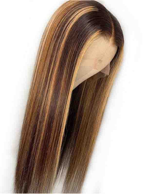 Elva Hair Ombre Color 4# 27# Silky Straight Brazilian Remy Hair 13x6 Lace Front Human Hair Wigs 150 Density 【00801】