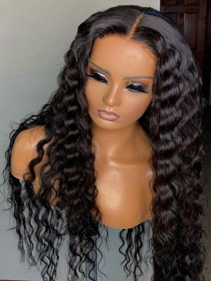Elva Pre Plucked Water Wave Brazilian Remy Hair 13x6 Lace Front Wigs 130 Density Swiss Lace【00765】