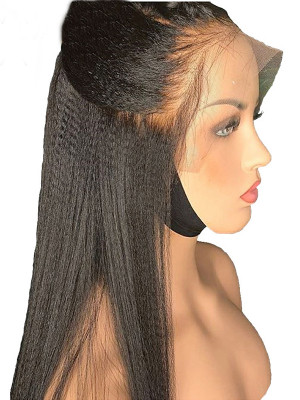 Pre Plucked Yaki Straight Brazilian Remy Hair 13x4 Lace Front Wigs 130 Density Pre plcked With Baby Hair【00679】