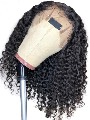Elva Pre Plucked Deep Curly Brazilian Remy Hair 13x6 Lace Front Bob Wigs 150 Density 【00798】