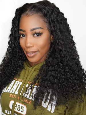 Pre Plucked Curly Brazilian Remy Hair 13x6 Lace Front Wigs 130 Density 【00425】