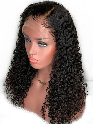 Pre Plucked Deep Curly Brazilian Remy Hair 13x4 Lace Front Wigs 130 Density Pre plcked With Baby Hair【00680】