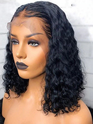 Elva Hair 370  Lace Wig With Fake Scalp Brazilian Remy Hair Curly Bob 150% Density Fake Scalp Wigs Pre plucked With Baby Hair【00719】