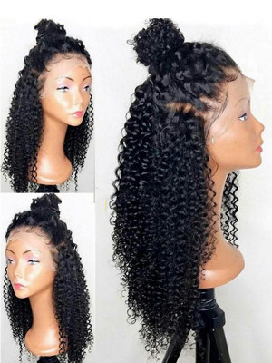Kinky Curly Full Lace Human Hair Wigs Pre Plucked With Baby Hair 10-24 Natural Color Brazilian Remy Hair Wigs For Black Women 【00351】