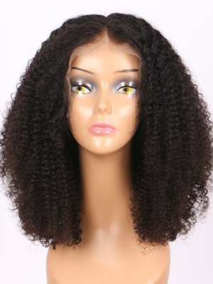 Kinky Curly Remy Hair 130 Density 13*4  Lace Front Bob Wigs  For Black Women【00335】