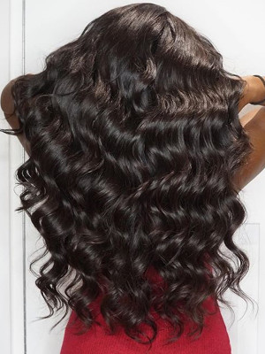 Pre Plucked Brazilian Human Hair Loose Wave Silk Base Lace Front Wig 150 Density  【00207】