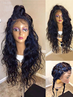 Pre Plucked Brazilian Human Hair Natural Curly Silk Base Lace Front Wig 150 Density 【00227】