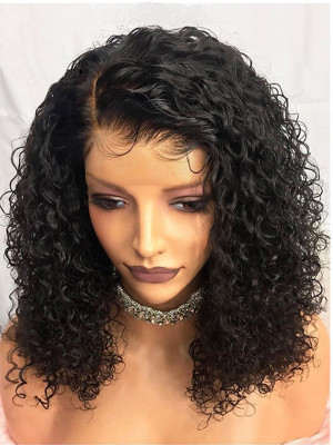 Elva Hair Pre Plucked  Natural Curly Brazilian Remy Hair Bob Wig 13x6 Lace Front Wigs 130 Density 【00742】