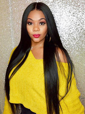 Pre Plucked Silky Straight Brazilian Remy Hair 13x4 Lace Front Wigs 130 Density 【00618】