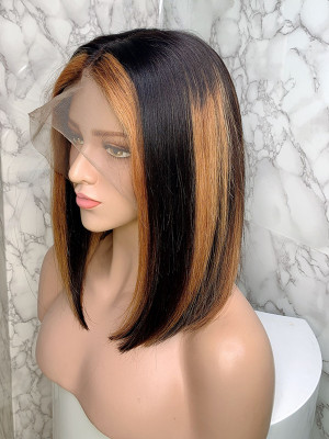 Elva Hair Ombre Color 1b 27# Bob Wig Brazilian Remy Hair 13x6 150 Density Lace Front Human Hair Wigs Silky Straight【00745】