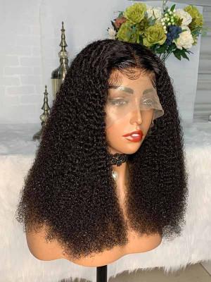 Elva Hair Pre Plucked Kinky Curly Short Bob Brazilian Remy Hair 13x6 Lace Front Wigs 150 Density Swiss Lace【00850】