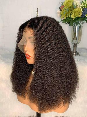 Elva Hair Pre Plucked Kinky Curly Short Bob Brazilian Remy Hair 13x6 Lace Front Wigs 150 Density Swiss Lace【00851】