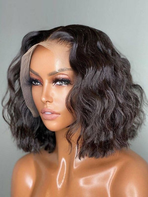 Short Lace Front Human Hair Wigs 130 Density Pre Plucked Hairline Brazilian Wavy Remy Bob Wig  Swiss Lace【00331】