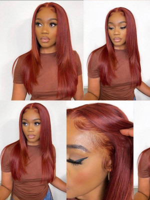 Elva Hair Pre Plucked Orange color 33# Silky Straight Brazilian Remy Hair 13x6 Lace Front Wigs With Swiss Lace【00145】