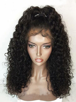 Pre Plucked Super Curly Brazilian Human Hair Silk Base Lace Front Wigs 150 Density 【00369】