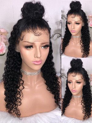 Pre Plucked Curly Brazilian Human Hair Silk Base Full Lace Wigs 150 Density  【00432】