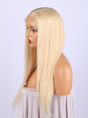 Pre Plucked Short Brazilian Remy Hair 613#  Silky Straight Full Lace Wigs With Baby Hair Bleached Knots 【00420】