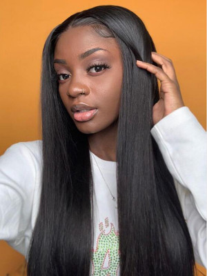 Pre Plucked Silky Straight 150% Remy Hair 13x6 Lace Front Human Hair Wigs Bleached Knots With Baby Hair 【00523】