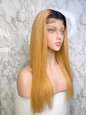 Elva Hair Ombre Color 1BT27# Silky Straight Brazilian Remy Hair 13x6 Lace Front Human Hair Wigs 150 Density 【00749】