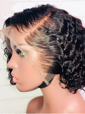 Pre Plucked Sexy Curly Brazilian Remy Hair 13x6 Lace Front Bob Wigs 130 Density 【00453】