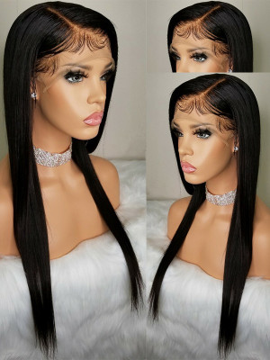 Pre Plucked Silky Straight Brazilian Remy Hair 13x6 Lace Front Wigs 130 Density Bleached Knots 【00424】