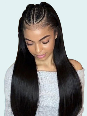 Pre Plucked Brazilian Human Hair Straight Silk Base Lace Front Wig 150 Density  【00371】