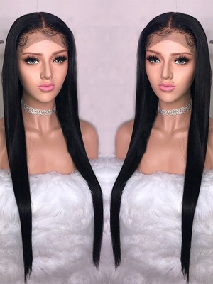 Pre Plucked Brazilian Human Hair Straight Silk Base Lace Front Wig 150 Density Bleached Knots 【00203】