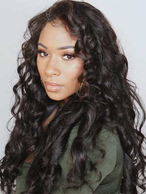 Pre Plucked Loose Wave Brazilian Human Hair Silk Base Full Lace Wigs 150 Density Bleached Knots 【00548】