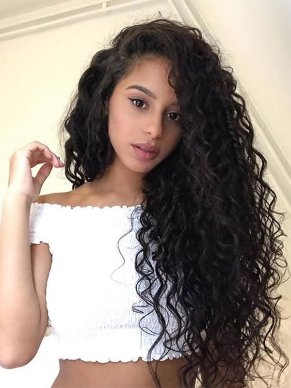 7a Brazilian Remy Hair Water Wave Human Hair Wigs 130 Density Natural Black Color Lace Front Wigs For Black Women