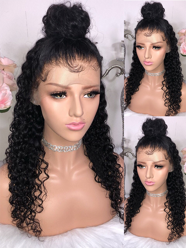 Pre Plucked Sexy Curly Brazilian Remy Hair 13x6 Lace Front Wigs 130 Density